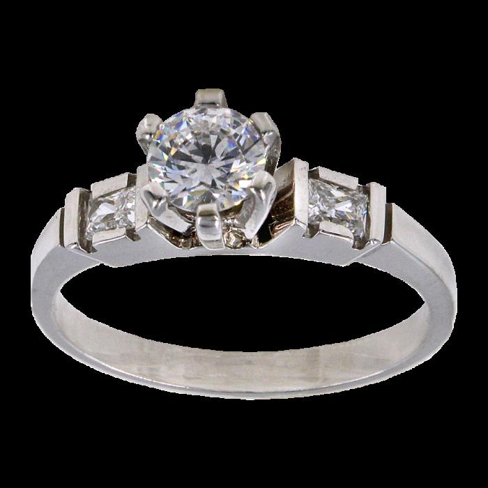 Μονόπετρο δαχτυλίδι λευκόχρυσο 14Κ - MD1009