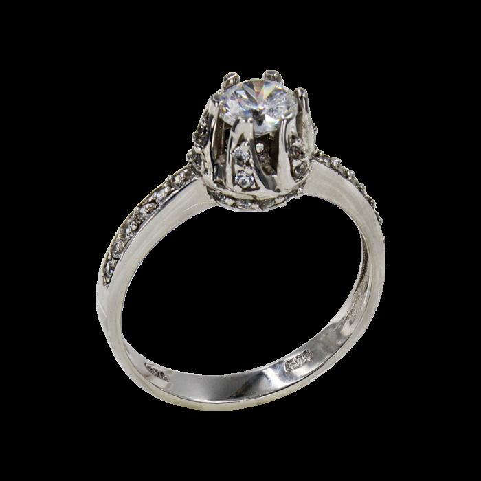 Μονόπετρο δαχτυλίδι λευκόχρυσο 14Κ - MD1010