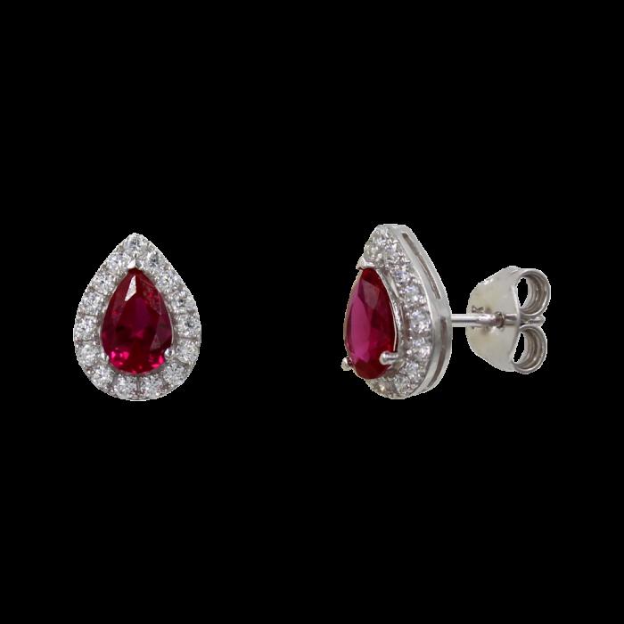 Σκουλαρίκια Δάκρυ Λευκόχρυσα 14Κ Με Ζιργκόν Πέτρες - S1178