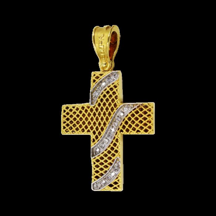 Γυναικείος δίχρωμος σταυρός 18Κ - ST1091