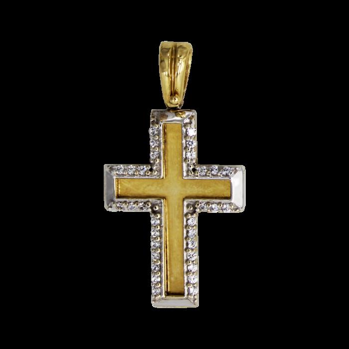 Γυναικείος δίχρωμος σταυρός 14Κ - ST1337