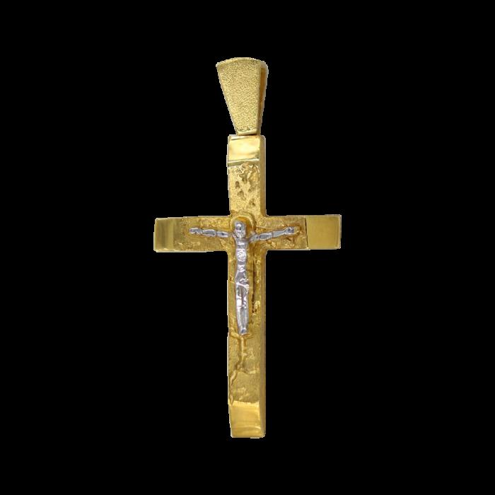 Ανδρικός δίχρωμος σταυρός 14Κ - ST1346