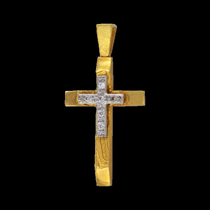 Γυναικείος δίχρωμος σταυρός 14Κ - ST1348