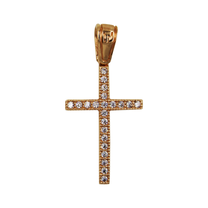 Γυναικείος ροζ χρυσός σταυρός 14Κ - ST1349R