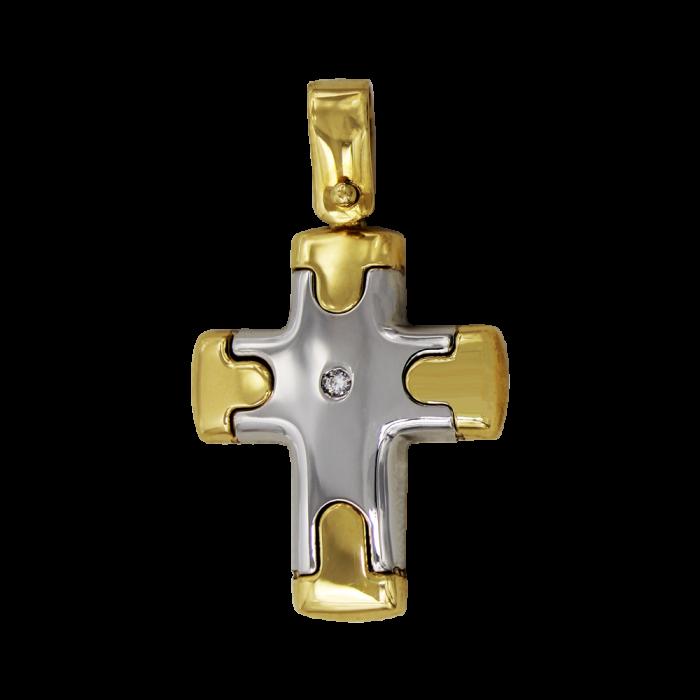 Γυναικείος δίχρωμος σταυρός 18Κ - ST1354