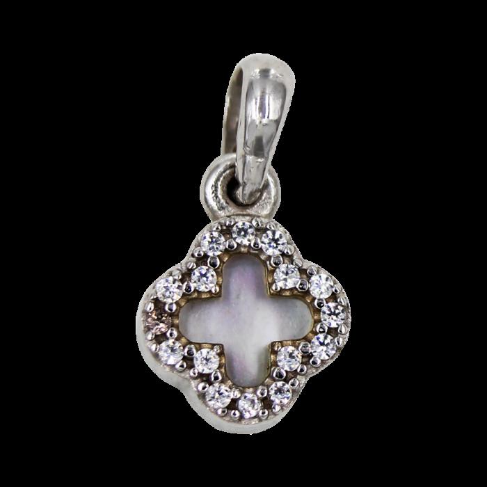 Γυναικείος λευκόχρυσος σταυρός 14Κ - ST1357