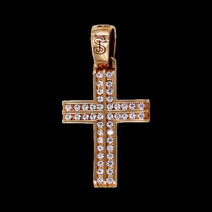 Γυναικείος ροζ χρυσός σταυρός 14Κ - ST1371