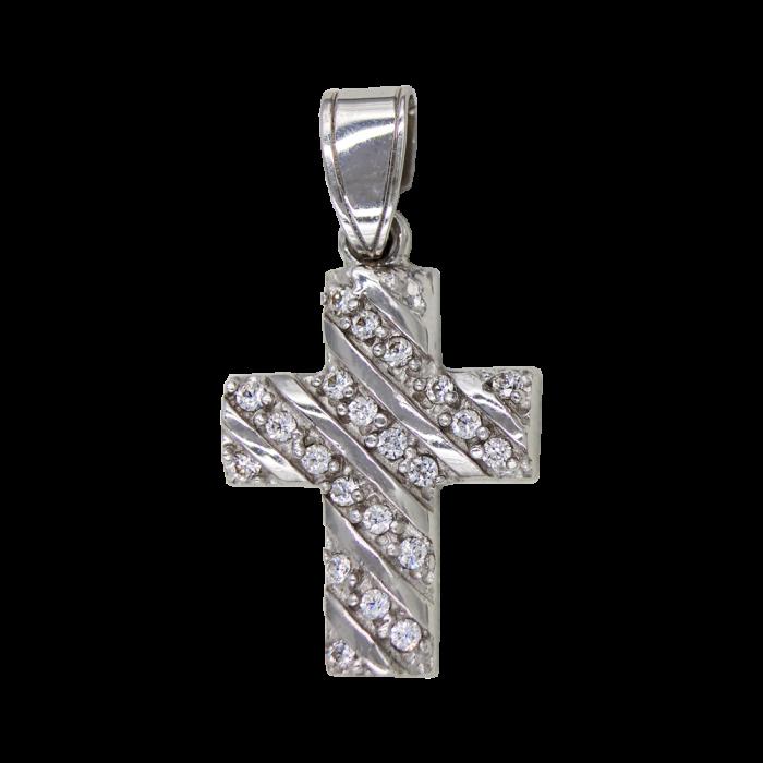 Γυναικείος λευκόχρυσος σταυρός 14Κ - ST1377