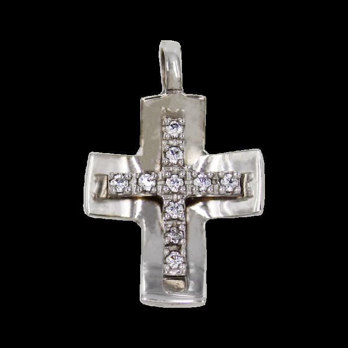 Γυναικείος λευκόχρυσος σταυρός 14Κ - ST1380