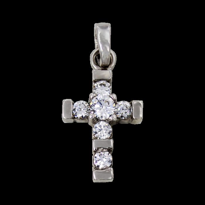 Γυναικείος λευκόχρυσος σταυρός 14Κ - ST1382