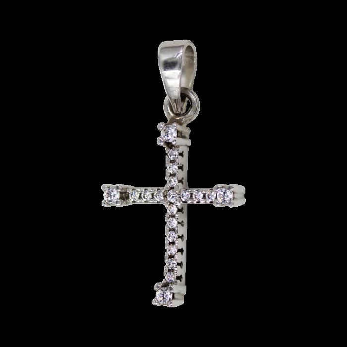 Γυναικείος λευκόχρυσος σταυρός 14Κ - ST1384