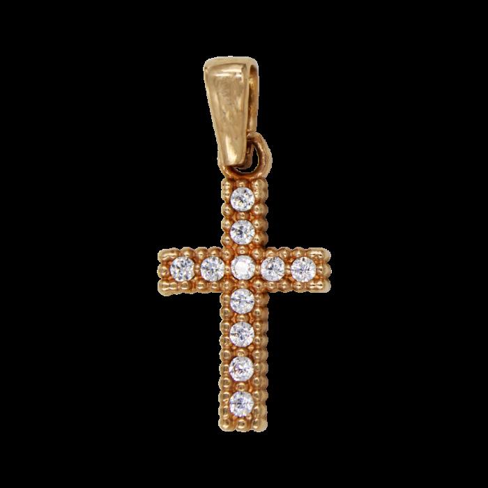 Γυναικείος ροζ χρυσός σταυρός 14Κ - ST1387