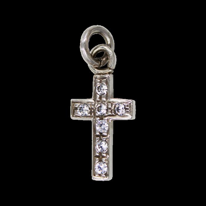 Γυναικείος λευκόχρυσος σταυρός 14Κ - ST1388