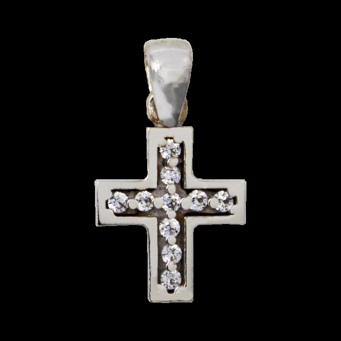 Γυναικείος λευκόχρυσος σταυρός 14Κ - ST1390L