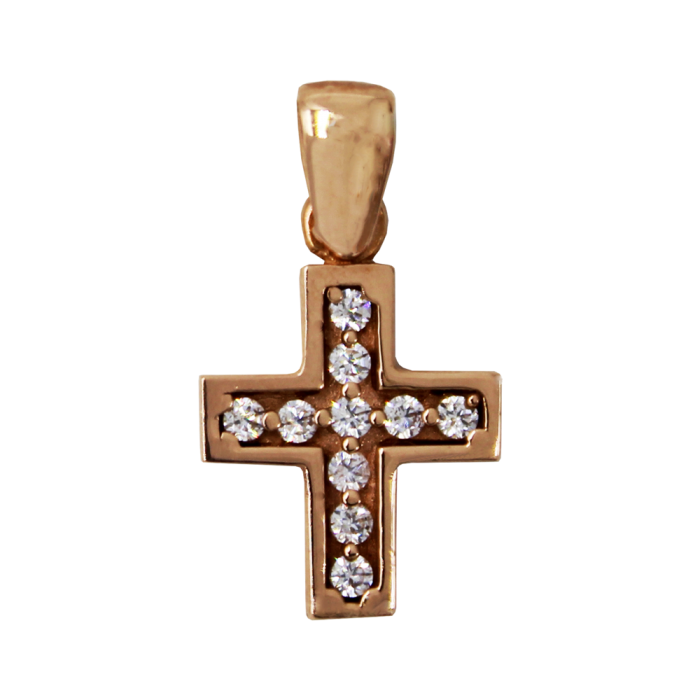 Γυναικείος ροζ χρυσός σταυρός 14Κ - ST1390R
