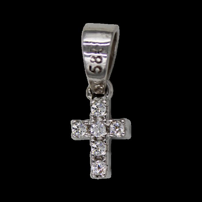 Γυναικείος λευκόχρυσος σταυρός 14Κ - ST1394