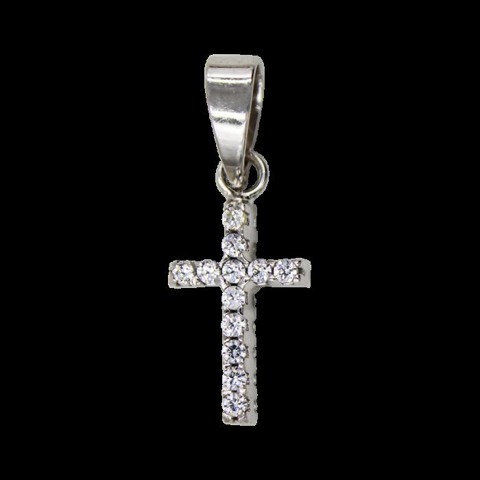 Γυναικείος λευκόχρυσος σταυρός 14Κ - ST1395
