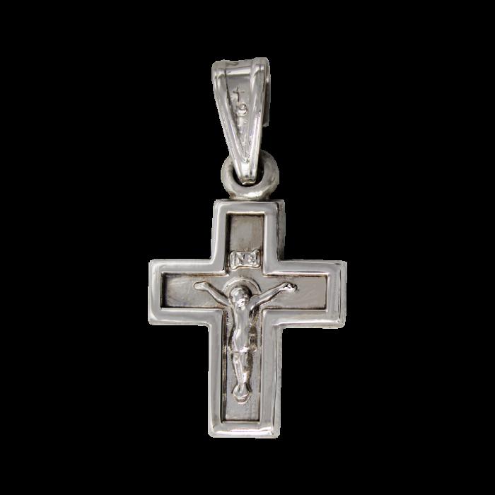 Ανδρικός λευκόχρυσος σταυρός 14Κ - ST1402