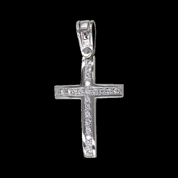 Γυναικείος λευκόχρυσος σταυρός 14Κ - ST1453L