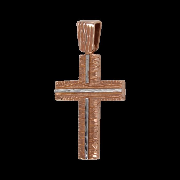 Γυναικείος δίχρωμος σταυρός 14Κ - ST1458