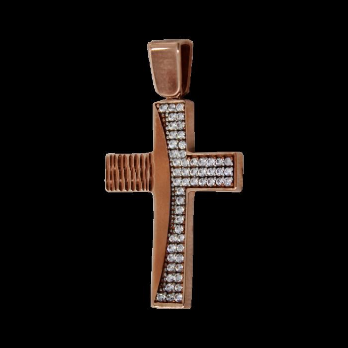 Γυναικείος ροζ χρυσός σταυρός 14Κ - ST1460