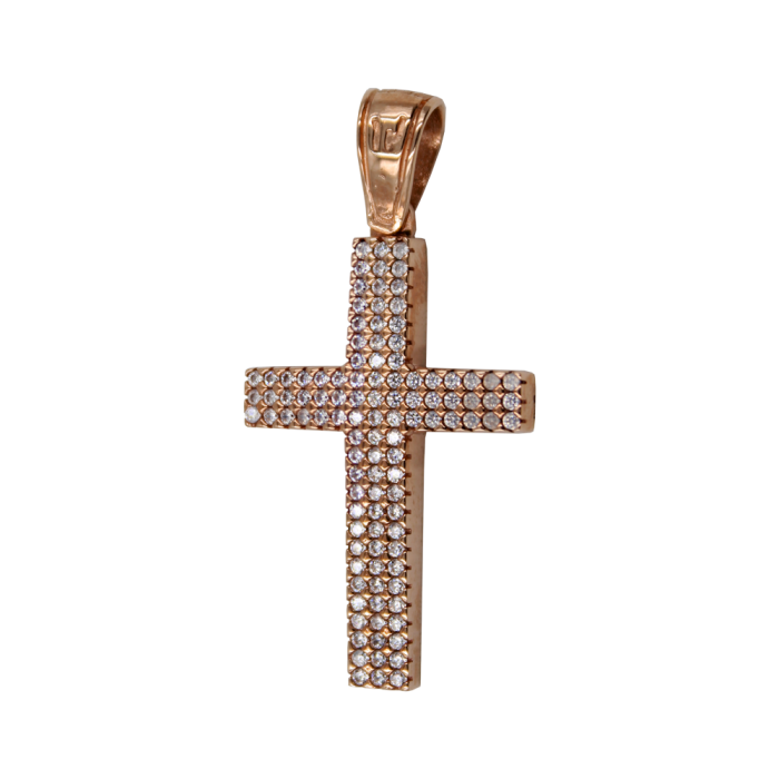Γυναικείος ροζ χρυσός σταυρός 14Κ - ST1488