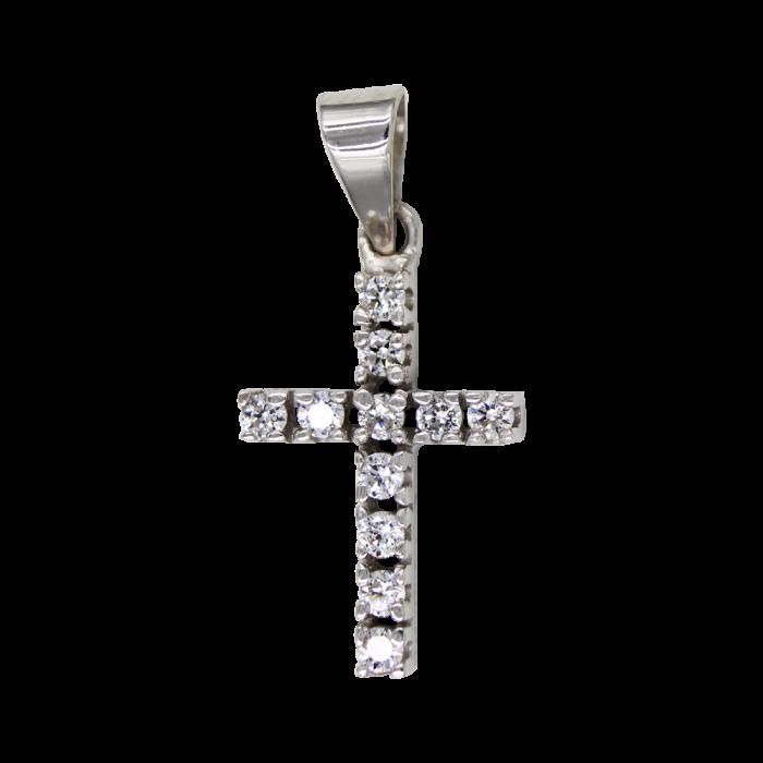 Γυναικείος λευκόχρυσος σταυρός 14Κ - ST1507L