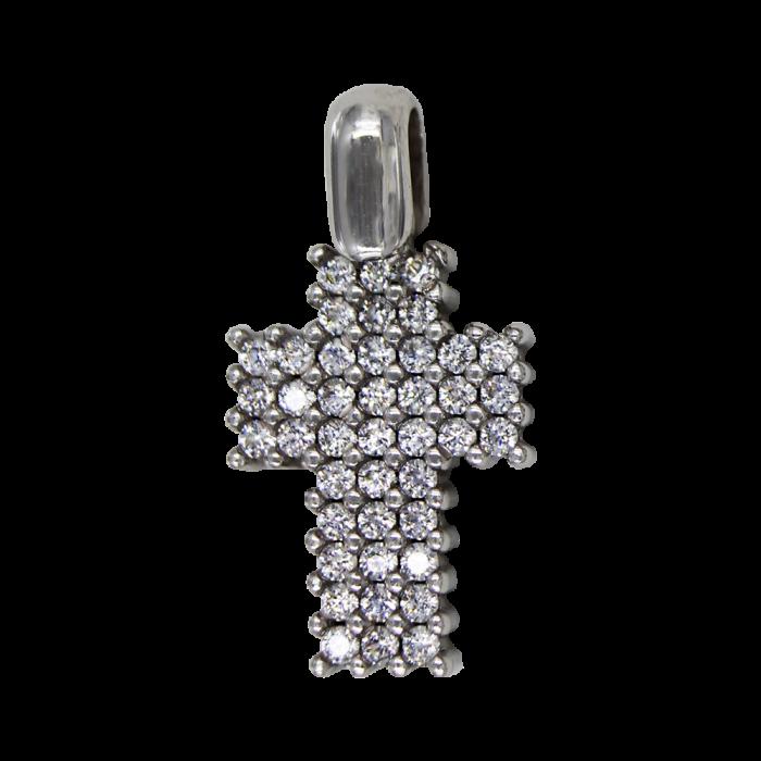 Γυναικείος λευκόχρυσος σταυρός 14Κ - ST1551
