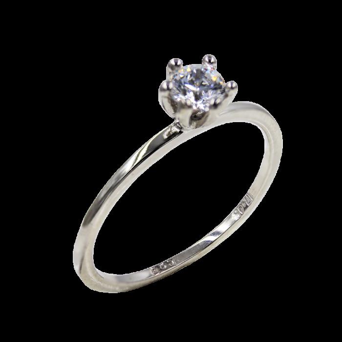 Μονόπετρο Δαχτυλίδι Λευκόχρυσο 14Κ - MD1068L