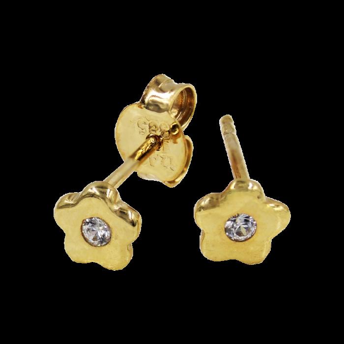 Σκουλαρίκια Λουλούδια Χρυσά 14Κ - S1056