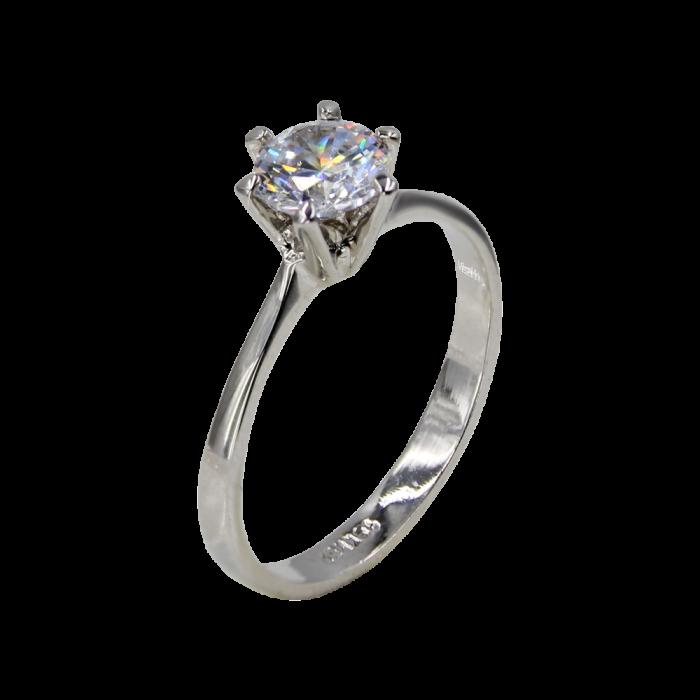 Μονόπετρο Δαχτυλίδι Ασημένιο Charming - SLV1003