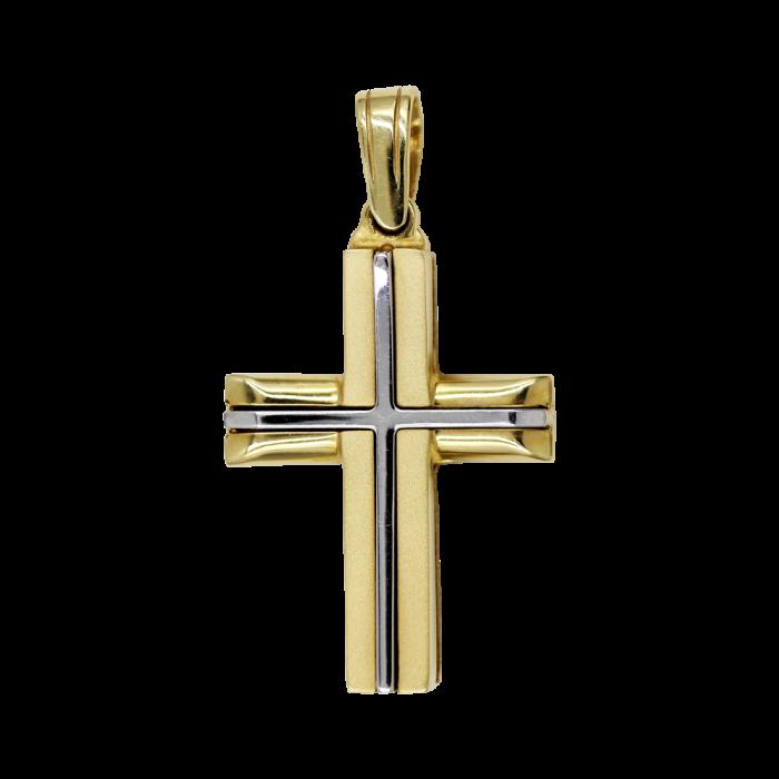 Ανδρικός δίχρωμος σταυρός 14Κ - ST1107