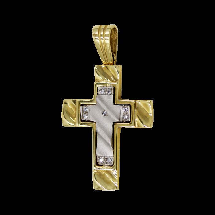 Γυναικείος δίχρωμος σταυρός 14Κ - ST1144