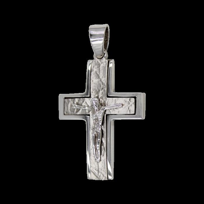 Ανδρικός λευκόχρυσος σταυρός 14Κ - ST1181