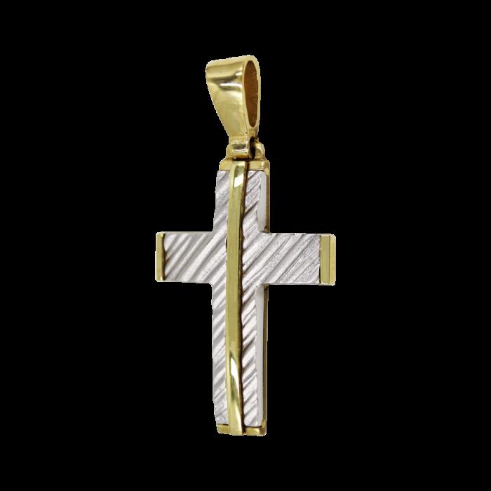 Ανδρικός δίχρωμος σταυρός 14Κ - ST1276
