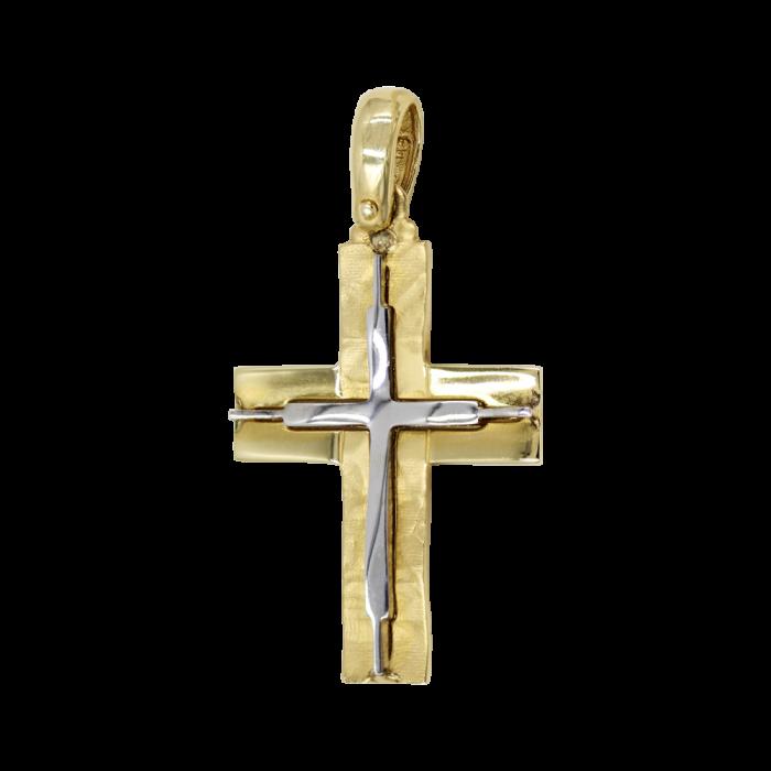 Ανδρικός δίχρωμος σταυρός 14Κ - ST1440