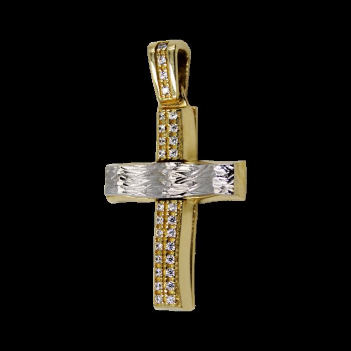 Γυναικείος δίχρωμος σταυρός 14Κ - ST1444