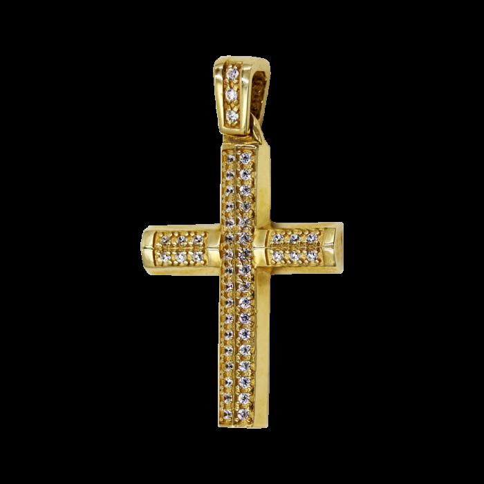 Γυναικείος δίχρωμος σταυρός 14Κ - ST1445