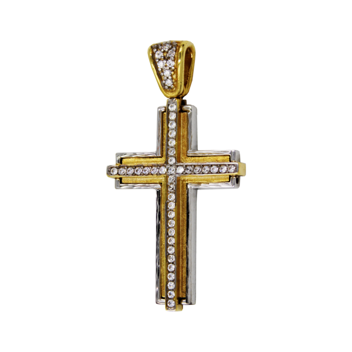 Γυναικείος δίχρωμος σταυρός 14Κ - ST1466