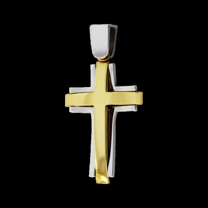 Ανδρικός δίχρωμος σταυρός 14Κ - ST1468