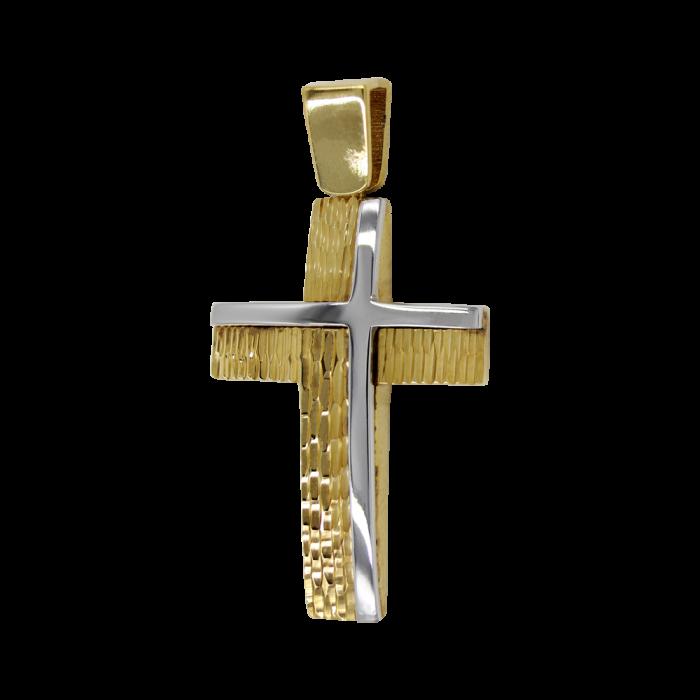 Ανδρικός δίχρωμος σταυρός 14Κ - ST1473