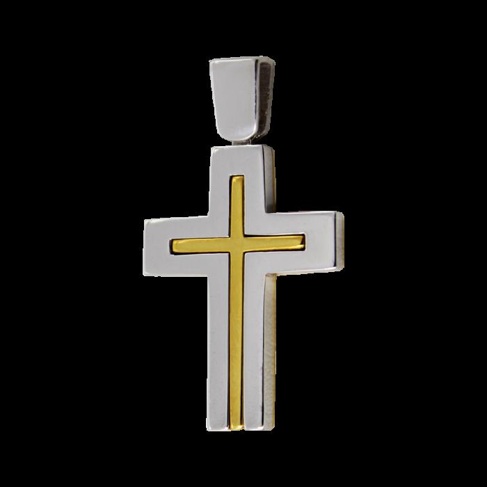 Ανδρικός δίχρωμος σταυρός 14Κ - ST1476