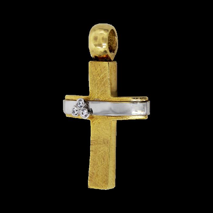 Γυναικείος δίχρωμος σταυρός 14Κ - ST1494