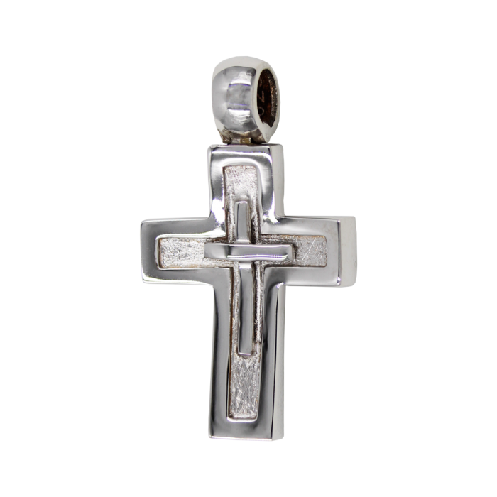 Ανδρικός λευκόχρυσος σταυρός 14Κ - ST1496