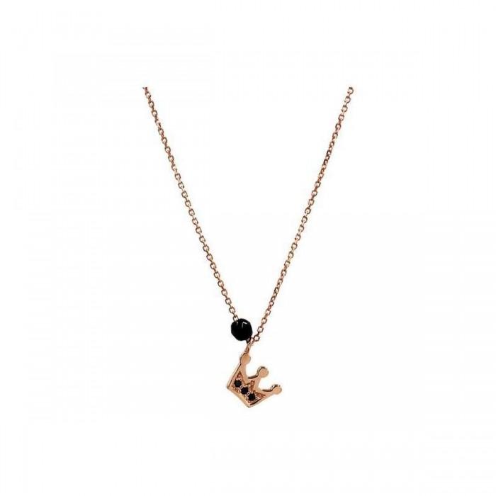 Κολιέ Κορόνα Ροζ Χρυσό 14Κ - K1077