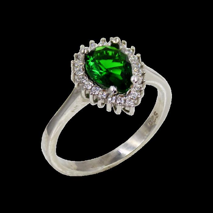 Μονόπετρο Δαχτυλίδι Ασημένιο Drop - SLV1028