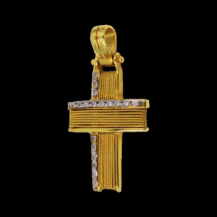 Γυναικείος δίχρωμος σταυρός 14Κ - ST1132