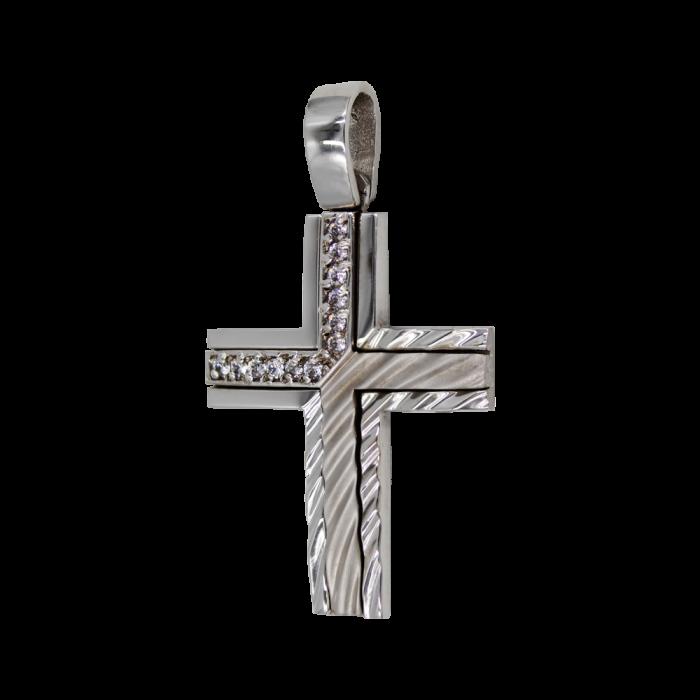 Γυναικείος λευκόχρυσος σταυρός 14Κ - ST1192