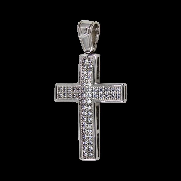 Γυναικείος λευκόχρυσος σταυρός 14Κ - ST1200