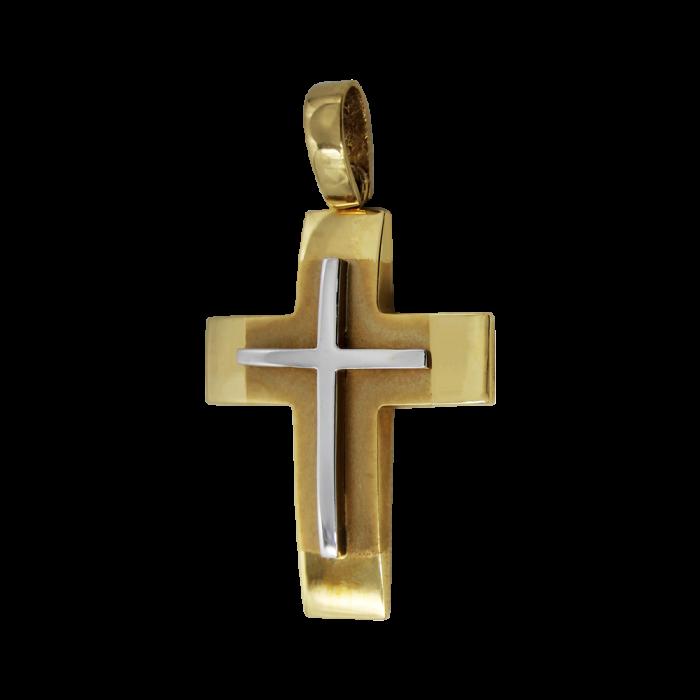 Ανδρικός δίχρωμος σταυρός 14Κ - ST1284